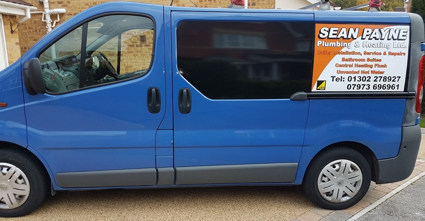 A picture of Sean Payne Plumbing and Heating Van with the logo
